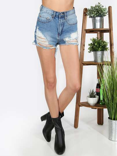 Denim Shorts mit zerrissenen Designs und Roh-Saum