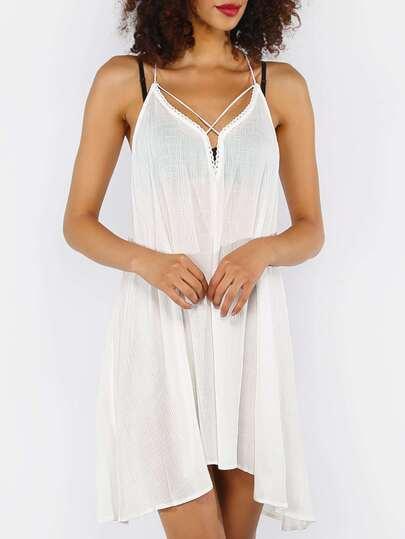 White Crisscross Tie Back Asymmetrical Dress