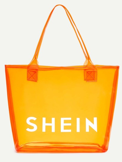 Orange SHEIN Print Clear Beach Tote Bag