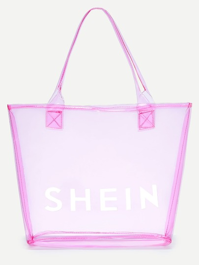 Pink SHEIN Print Clear Beach Tote Bag