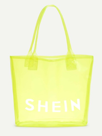 Neon SHEIN Print Clear Beach Tote Bag