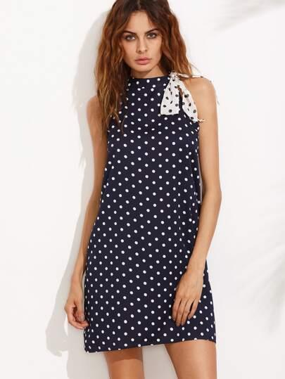 Navy Halter Polka Dot Tie Dress