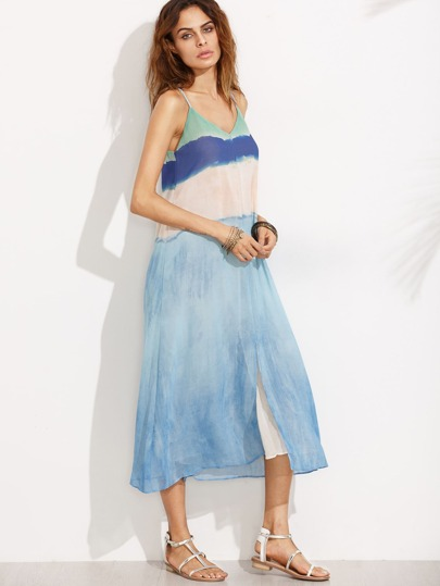 Robe longue à bretelle imprimé col V - bleu