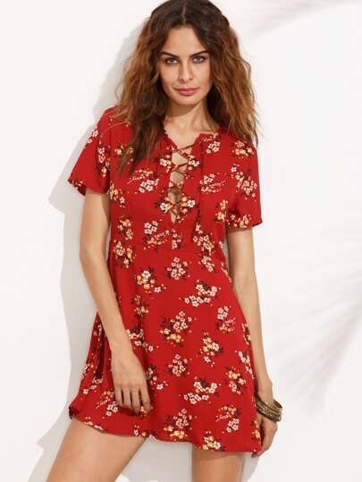 Red Floral Lace Up Zipper Side A-line Dress