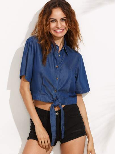 Blue Roll Cuff Self-Tie Bow Bottons Front Denim Blouse