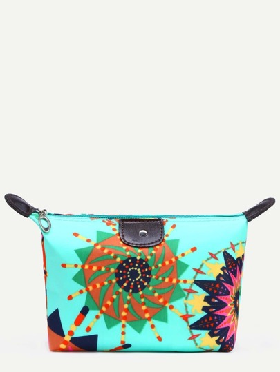 Green Circle Print Zip Top Makeup Bag