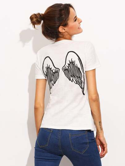 White Wing Print Short Sleeve T-shirt