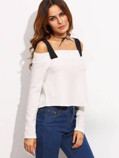 White Long Sleeve Cold Shoulder Blouse