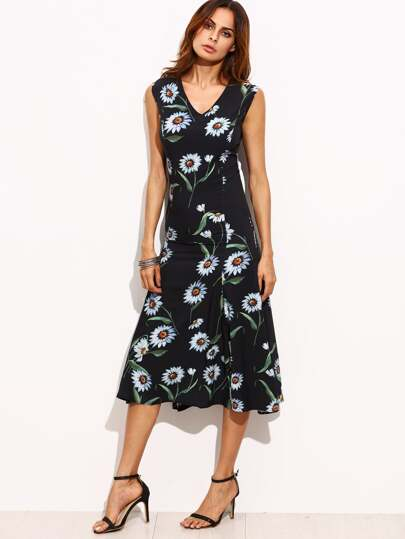 Black V Neck Sleeveless Floral Midi Dress