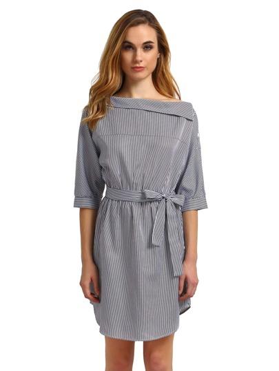 Black White Periwinkle Shouldered Half Sleeve Off The Shoulder Striped Dress