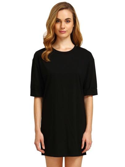 Black Round Neck Inch Half Sleeve Loose Dress
