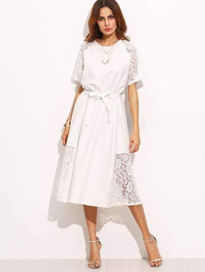 Laser Out Lace Trim Belted Dress