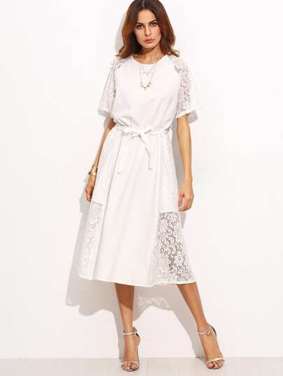 White Lace Slim Dress With Belt