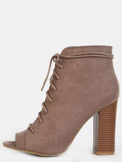 Lace Up Peep Toe Ankle Boots TAUPE