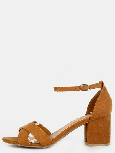 Criss Cross Ankle Strap Block Heels TAN