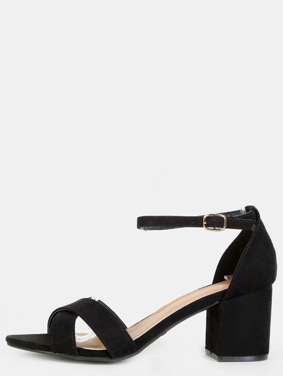 Criss Cross Faux Suede Block Heels BLACK