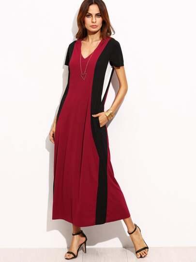Rose Red V Neck Midi Dress
