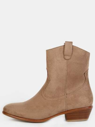 Faux Suede Cowboy Ankle Boots TAUPE