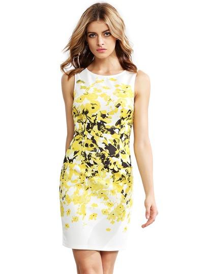 Gelbes Sleeveless Weinlese-Druck-Kleid