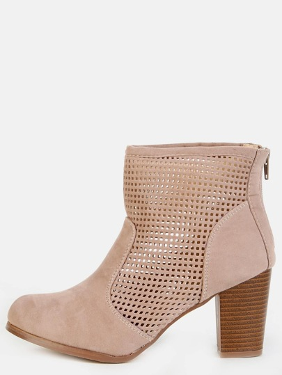 Mesh Grid Stacked Heel Ankle Booties TAUPE