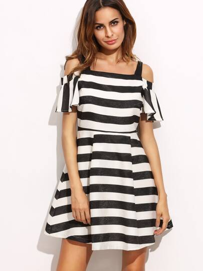 Black And White Striped Cold Shoulder A-Line Dress