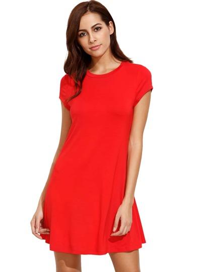 Rojo manga corta camisa cortar el vestido de swing