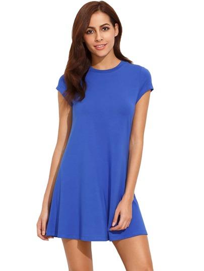 Royal Blue Short Sleeve Shirt Cut Swing Dress