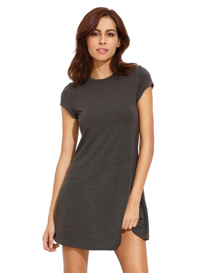 Grey Short Sleeve Shirt Cut Swing Dress