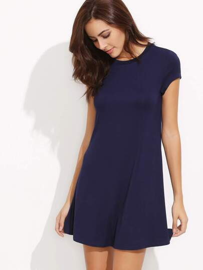 Navy Short Sleeve Shirt Cut Swing Dress
