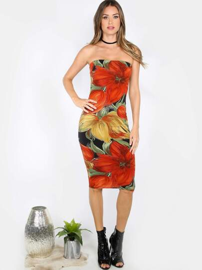 Painted Florals Bodycon Tube Dress BLACK MULTI