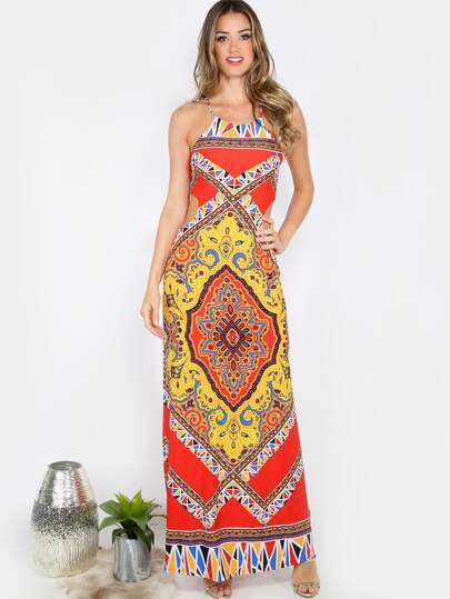 Printed Cut Out Maxi Dress MULTI