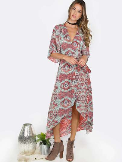 Paisley Hi-Lo Wrap Dress MULTI