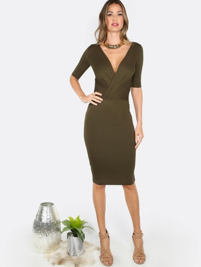 Deep V Bodycon Dress OLIVE