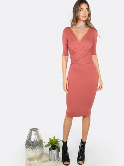 Quarter Sleeve Fitted Dress MARSALA
