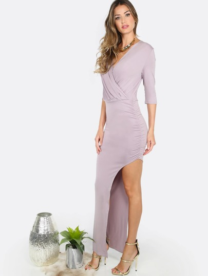 Gathered Slit Wrapped Dress MAUVE