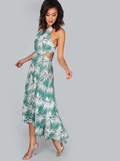 Palm Print Halter Dress GREEN