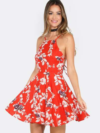 Floral Halter Skater Dress RED