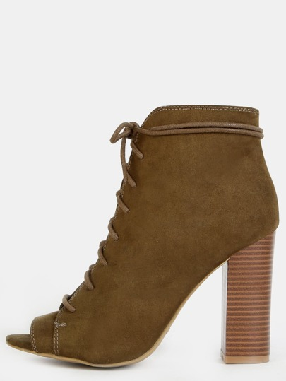Stacked Heel Lace Up Ankle Boots OLIVE