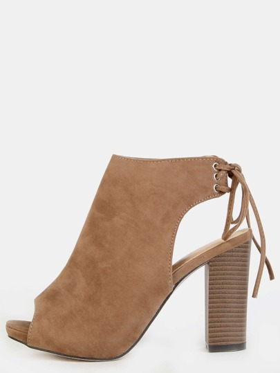 Faux Suede Chunky Heel Booties TAUPE