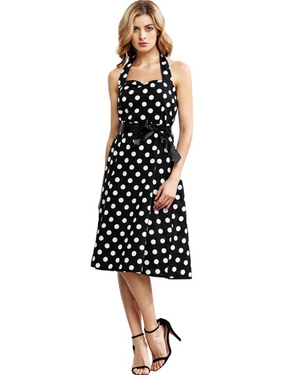 Black Polka Dot Halter Flare Dress