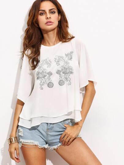 White Embroidery Key-hole Chiffon Blouse