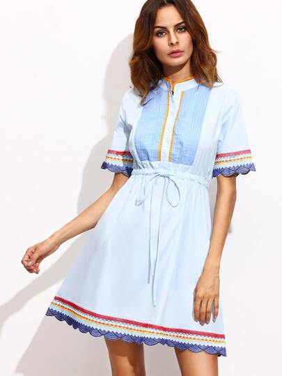 Blue Embroidery Button Tie Waist Dress