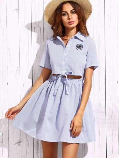 Blue Lapel Badge Bow Stripe Dress