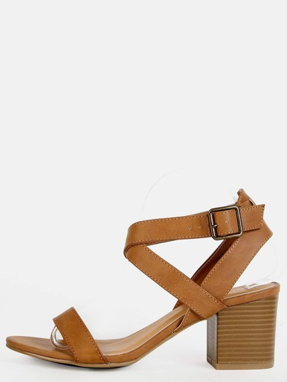 Criss Cross Chunky Block Heels TAN