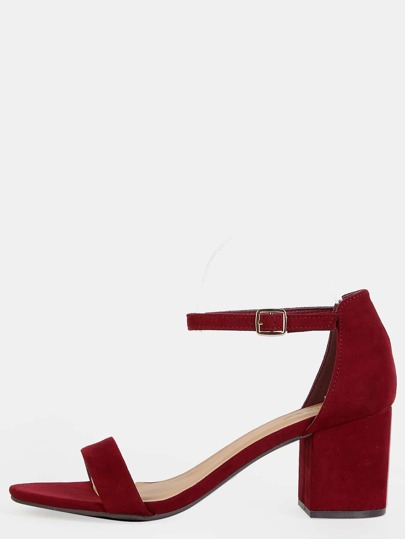 Faux Suede Open Toe Block Heels BURGUNDY