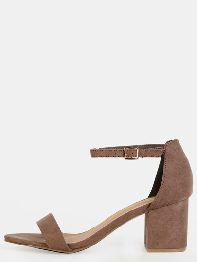 Faux Suede Ankle Strap Block Heels TAUPE