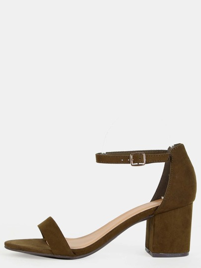 Single Strap Faux Suede Chunky Heels OLIVE