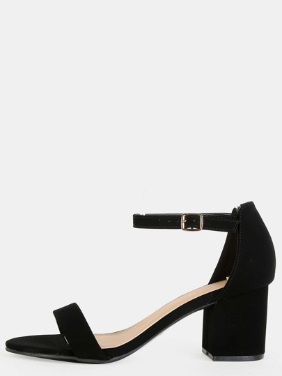 Open Toe Single Strap Block Heels BLACK