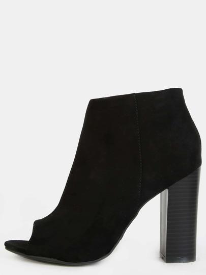 Stacked Heel Peep Toe Booties BLACK