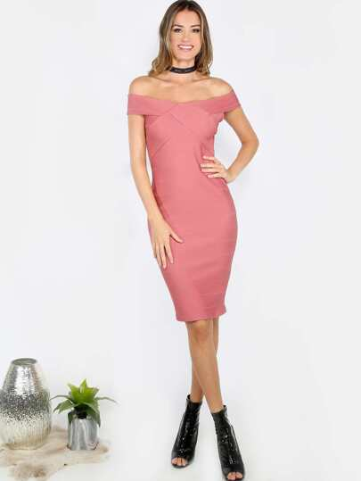 Off the Shoulder Bandage Dress MAUVE